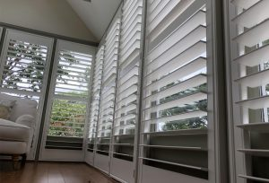 White Painted Shutters for Conservatory Windows